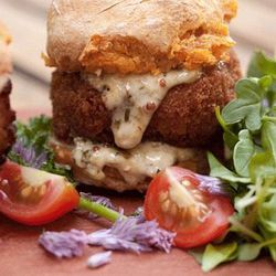 """Three Little Pigs sliders at <a href=""""http://f.curbed.cc/f/CityEats_EDC_SP_062812_Jackson20""""><b>Jackson 20</b></a>, served on sweet potato biscuits with fresh bacon and pig head."""