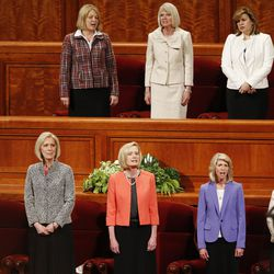 Leaders sing a hymn during The Church of Jesus Christ of Latter-Day Saints' General Women's Session of the 187th Annual General Conference in the Conference Center in Salt Lake City on Saturday, March 25, 2017.