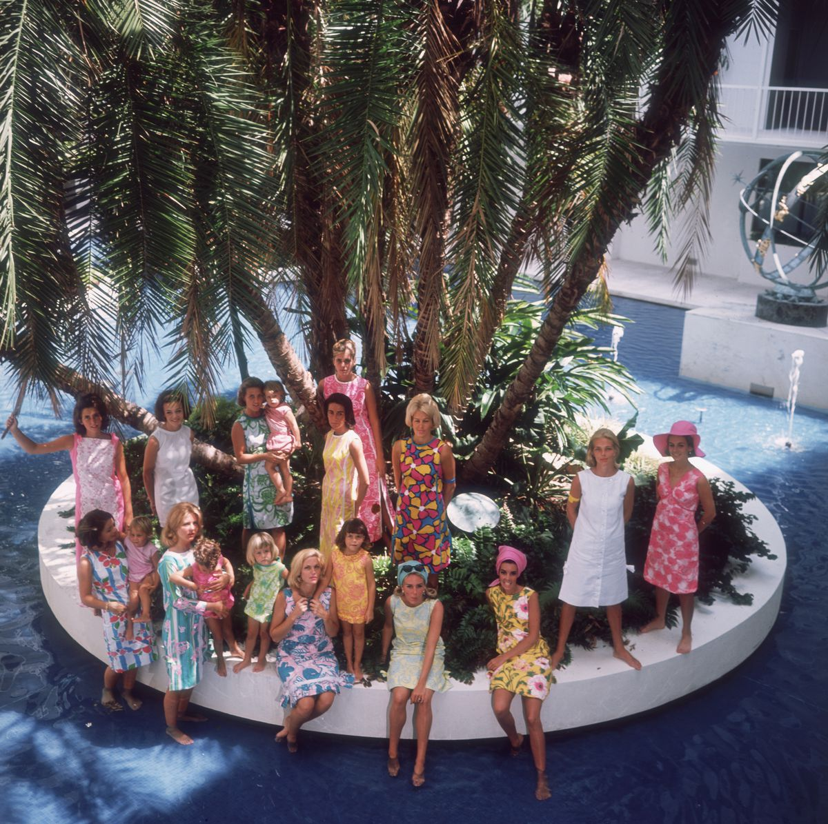 """The """"young matrons"""" of Palm Beach —including Wendy Vanderbilt — wearing new Lilly Pulitzer dresses in 1964."""