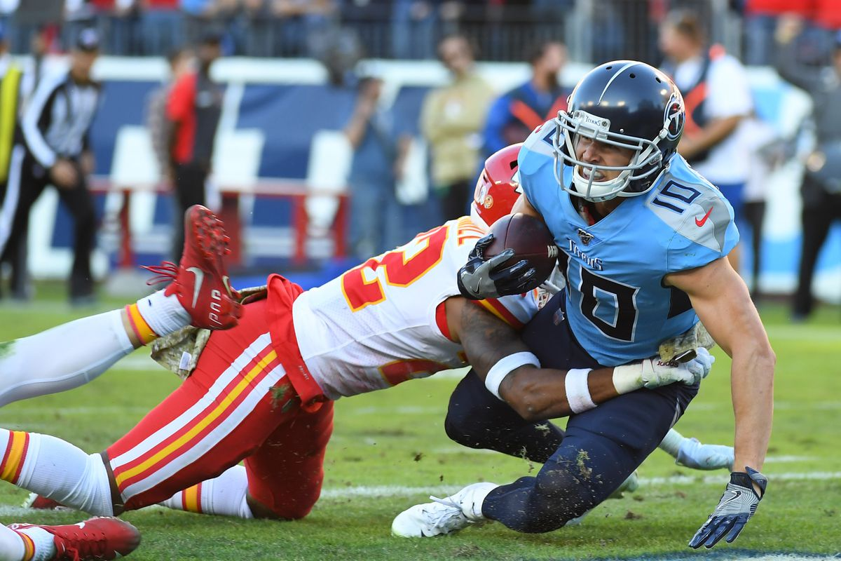 Tennessee Titans wide receiver Adam Humphries crosses the goal line for the game-winning touchdown against the Kansas City Chiefs at Nissan Stadium.