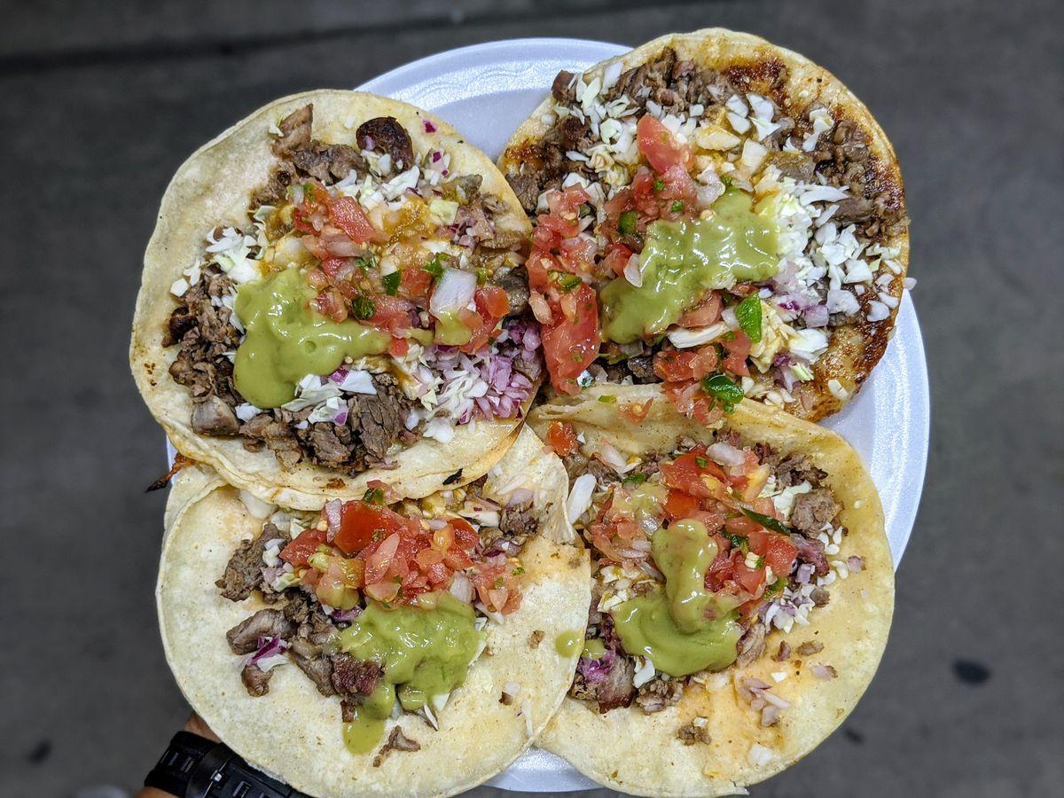 Carne asada tacos and vampiro from La Carreta