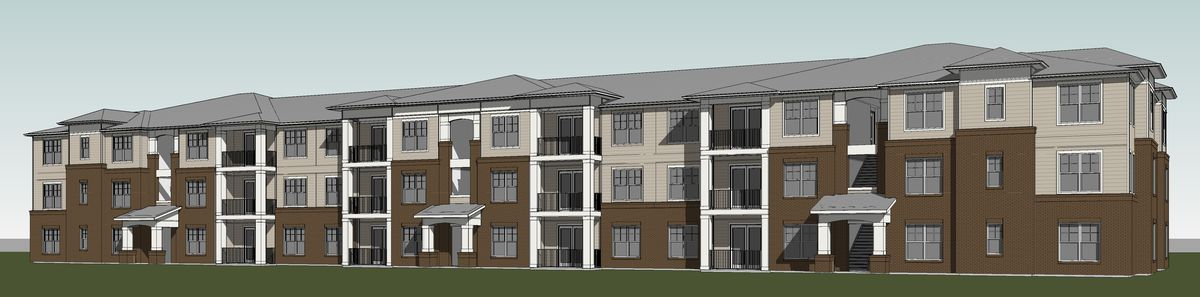 Rendering of three-story apartment building.