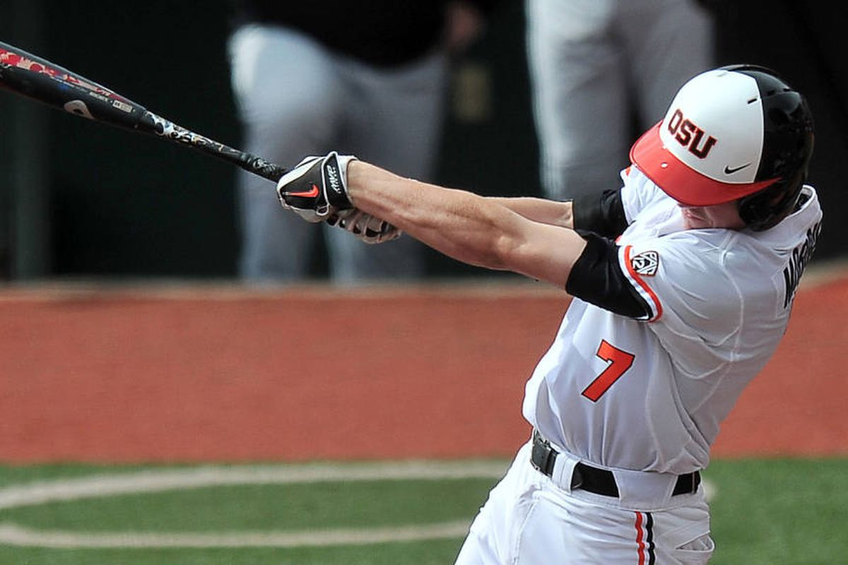 Trevor Morrison went 4 for 4 in yesterday's loss to Oklahoma; a similar effort today might help the Beavers beat Kansas.