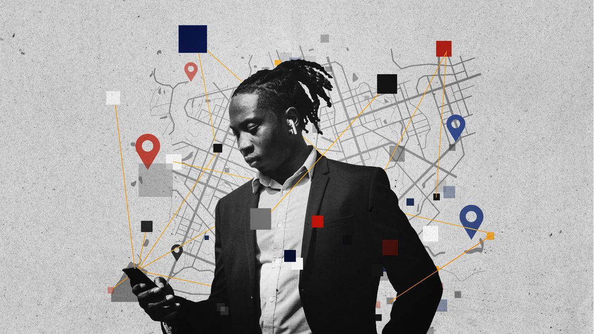 Illustration of a person looking at a cellphone.