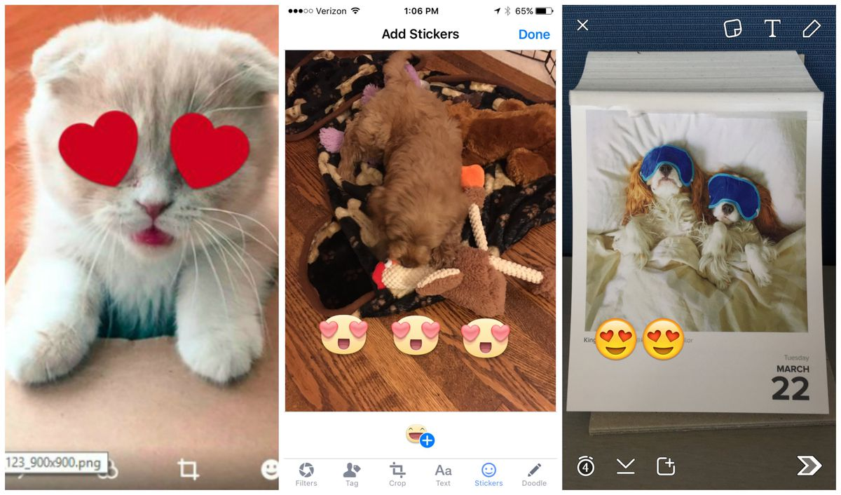 Stickers on Twitter (L), Facebook (C) and Snapchat.