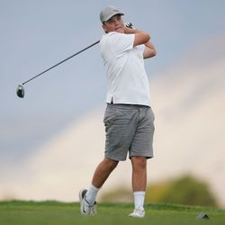Morgan High School's Caige Toone competes in the 3A boys state championship at Oquirrh Hills Golf Course in Tooele on Thursday, Oct. 7, 2021.