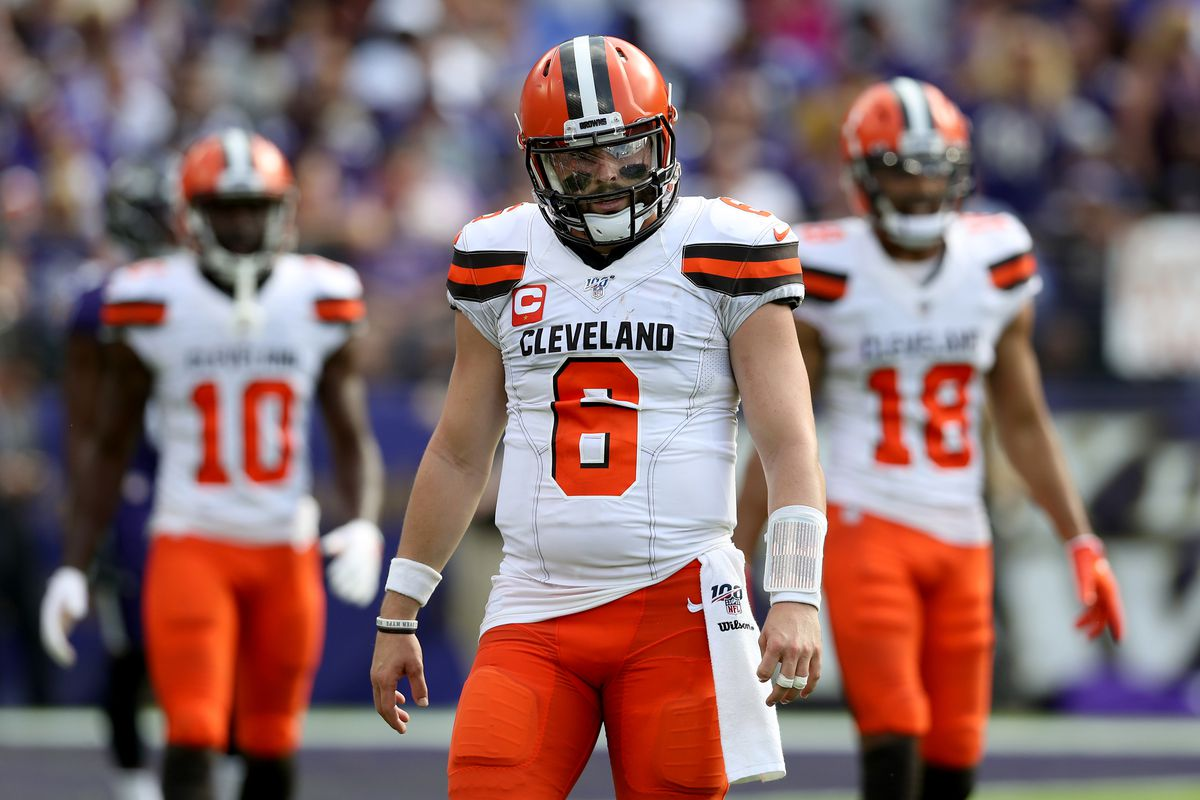 Quarterback Baker Mayfield of the Cleveland Browns looks on against the Baltimore Ravens at M&T Bank Stadium on September 29, 2019 in Baltimore, Maryland.