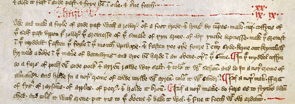 An English cookery manuscript from the 1300s. As you can see, these require a lot of time to work through.