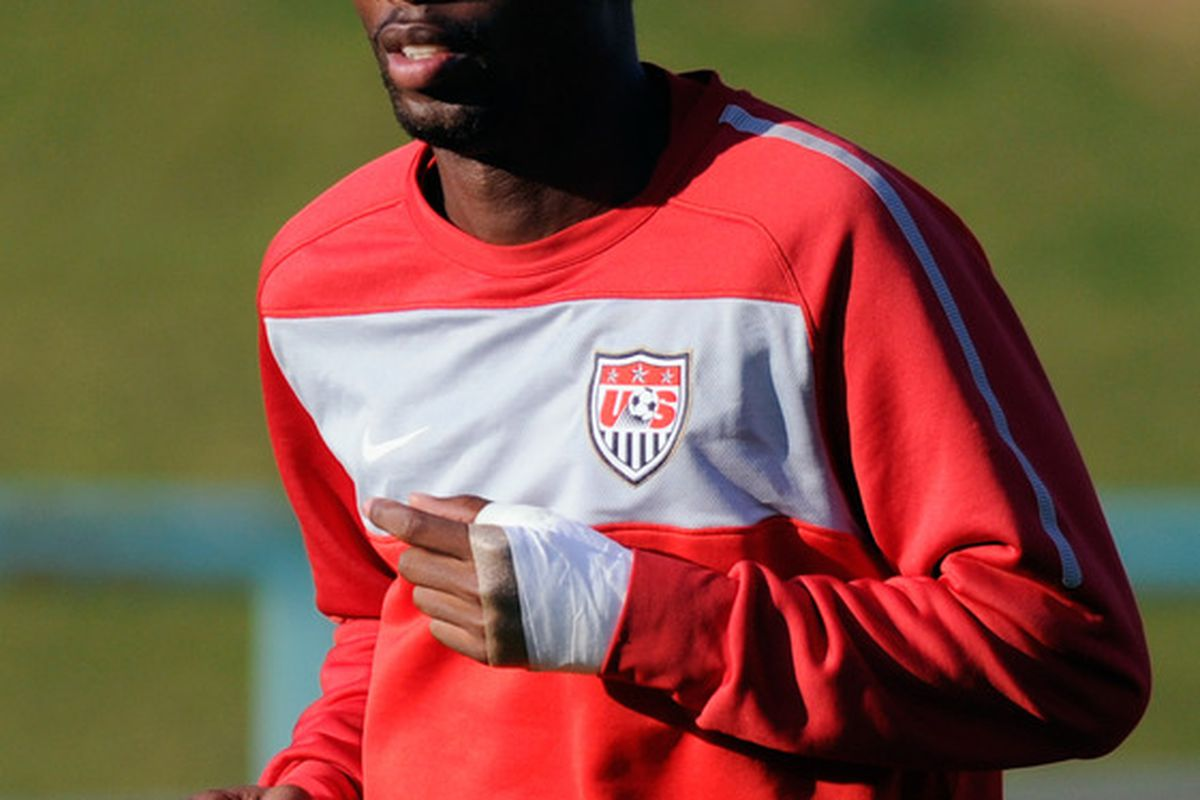 PRETORIA, SOUTH AFRICA - JUNE 13: DeMarcus Beasley of US national football team sprints during a training session at Pilditch Stadium on June 13, 2010 in Pretoria, South Africa.  (Photo by Kevork Djansezian/Getty Images)