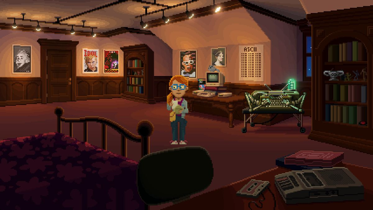 Thimbleweed Park — Delores stands in a dimly-lit bedroom