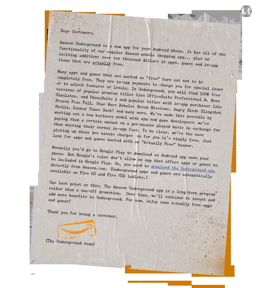 Amazon Underground Letter