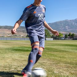 Skyridge's midfielder Austin Wallace, this year's Deseret News Mr. Soccer, poses for a photo at Skyridge High School in Lehi on June 14, 2021.