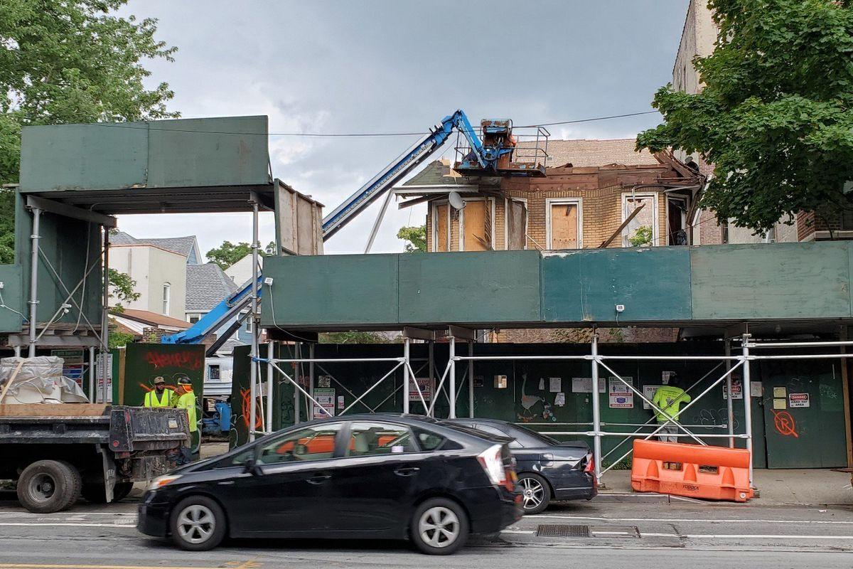 Workers resumed demolition work on a Prospect Lefferts Gardens building along Bedford Avenue, July 19, 2021.
