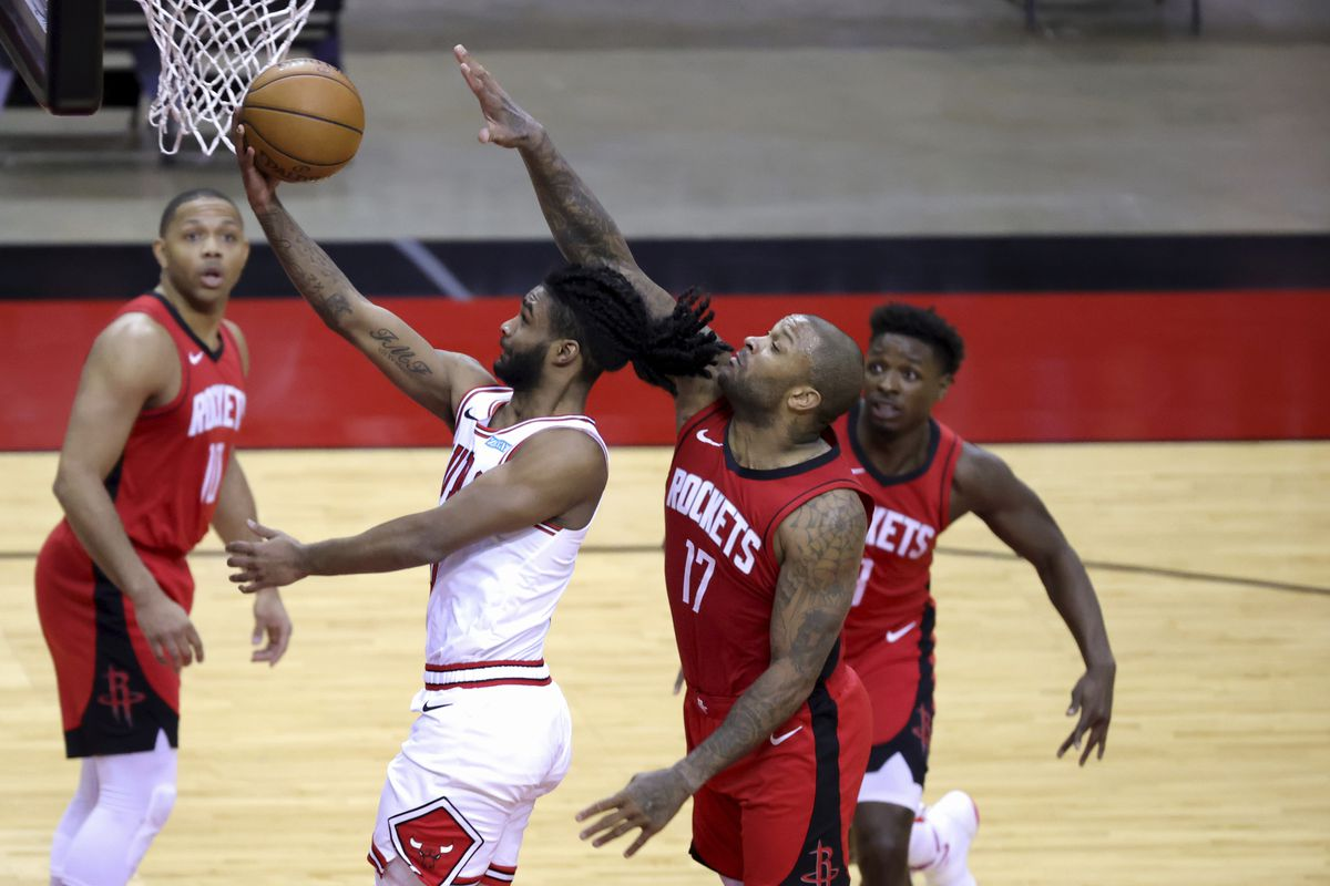 Coby White goes up for a layup during the third quarter Monday in Houston.