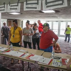 Parents checking in at the Dee Events Center in South Ogden on Tuesday, Sept. 5, 2017.