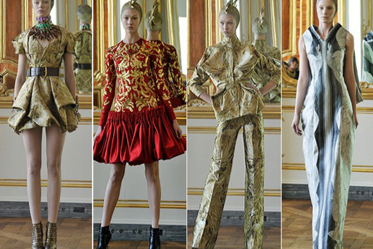 """McQueen seemed creepily interested in the afterlife. Image via <a href=""""http://latimesblogs.latimes.com/alltherage/2010/03/paris-fashion-week-alexander-mcqueens-final-masterpieces.html"""">All the Rage</a>."""