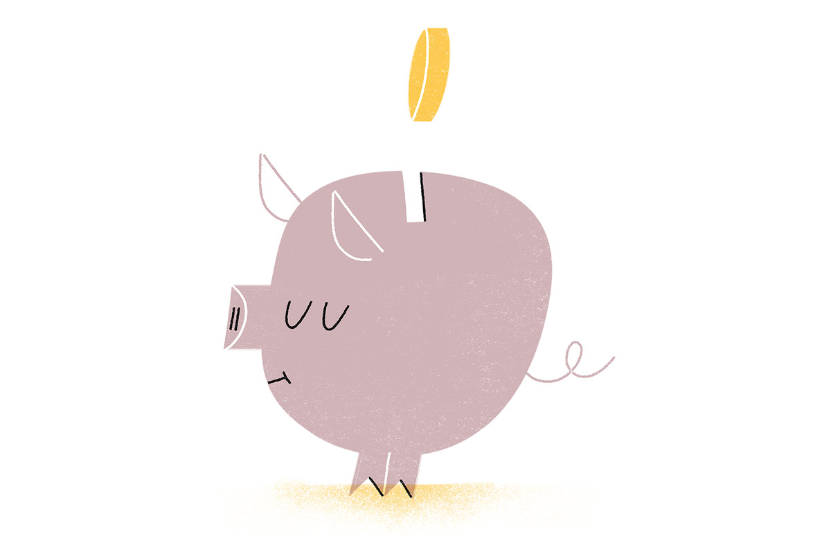 An illustration of a piggy bank with a coin going in