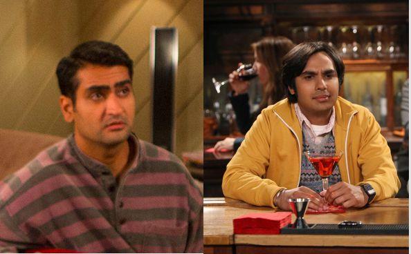 (L) Kumail Nanjiani, age 37, plays Dinesh on Silicon Valley. (R) Kunal Nayyar, age 33, plays Raj on The Big Bang Theory. Not the same guy.