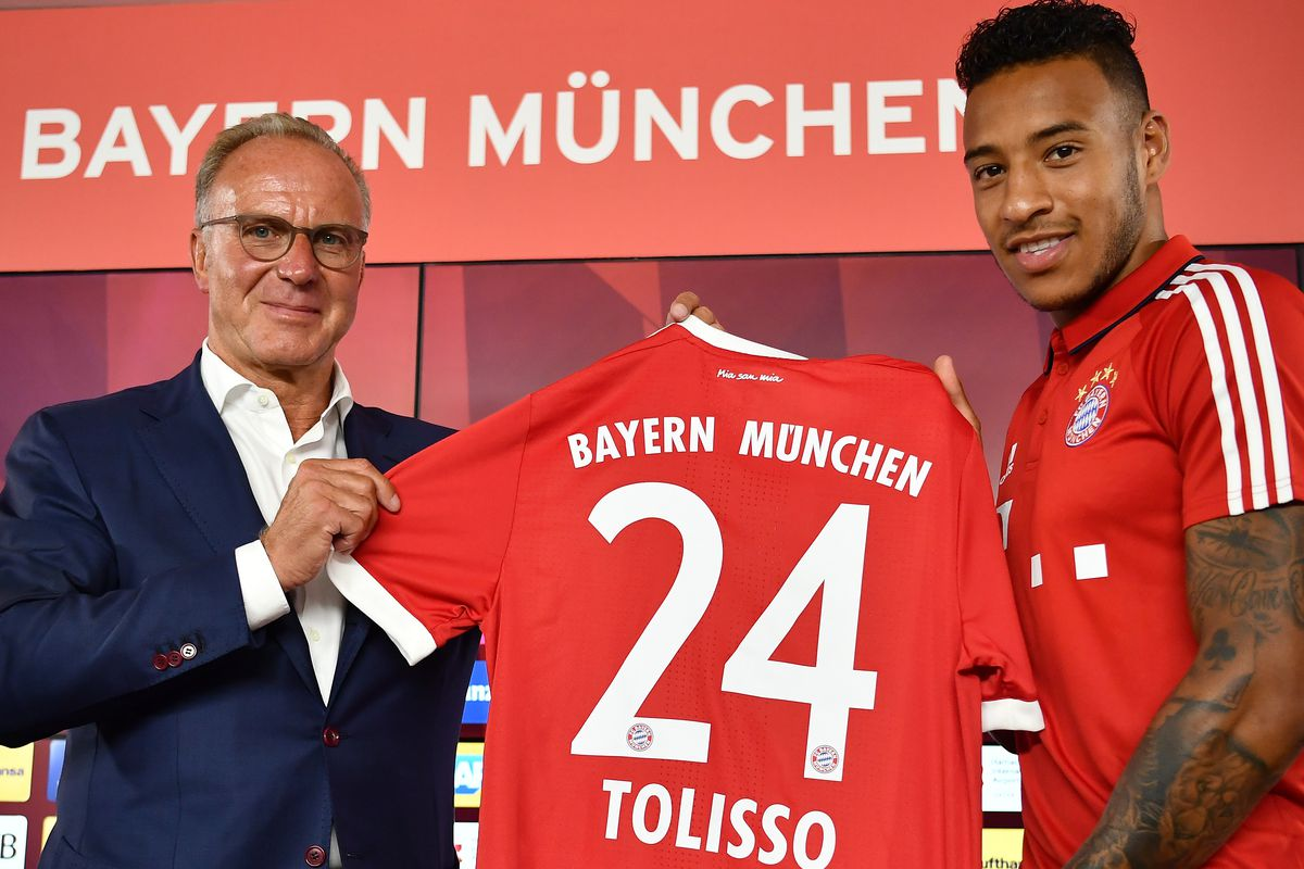 FC Bayern Muenchen Unveils New Signing Corentin Tolisso MUNICH, GERMANY - JULY 10: Karl-Heinz Rummenigge, CEO of FC Bayern Muenchen presents with Corentin Tolisso his new jersey number at Saebener Strasse training ground on July 10, 2017 in Munich, Germany.