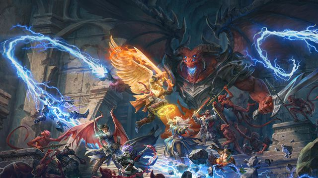A balor lashes out with lighting, spitting from a magic wand, while heroes battle demonic imps in the foreground.