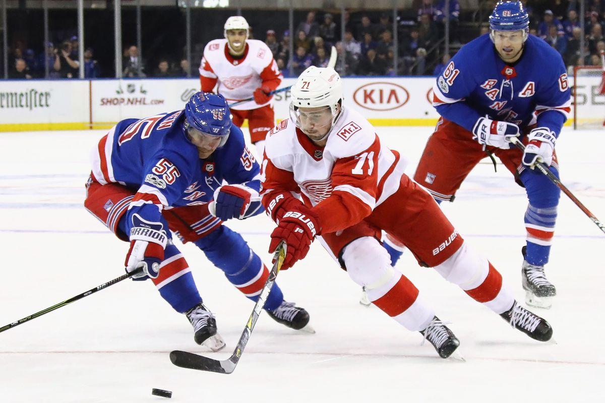 NEW YORK, NY - NOVEMBER 24: Dylan Larkin #71 of the Detroit Red Wings skates against the New York Rangers at Madison Square Garden on November 24, 2017 in New York City. The Rangers defeated the Red Wings 2-1 in overtime.  (Photo by Bruce Bennett/Getty Images)