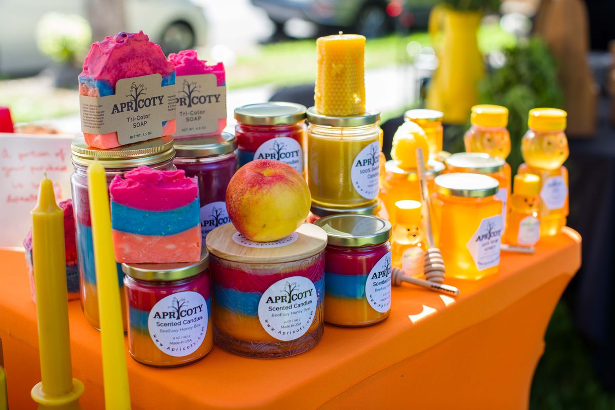 Honey and candles at Artsakh Gardens Farmers Market.