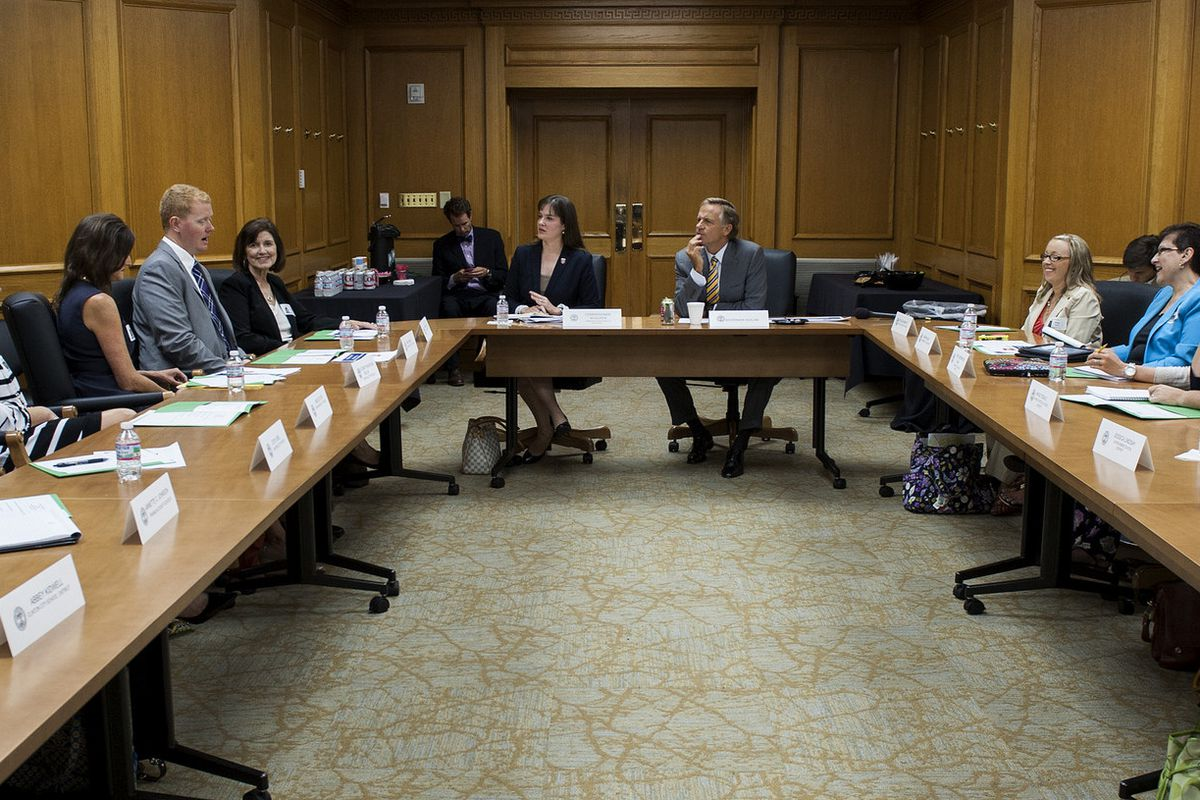 Education Commissioner Candice McQueen and Gov. Bill Haslam (center) meet in 2015 with members of the governor's Teachers Cabinet, who have shared their concerns about overtesting in the classroom.