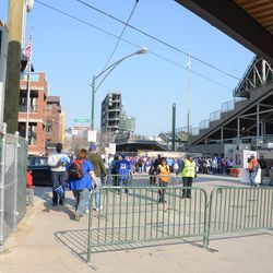 4:34 p.m. Security fences outside the VIP/Players parking lot -