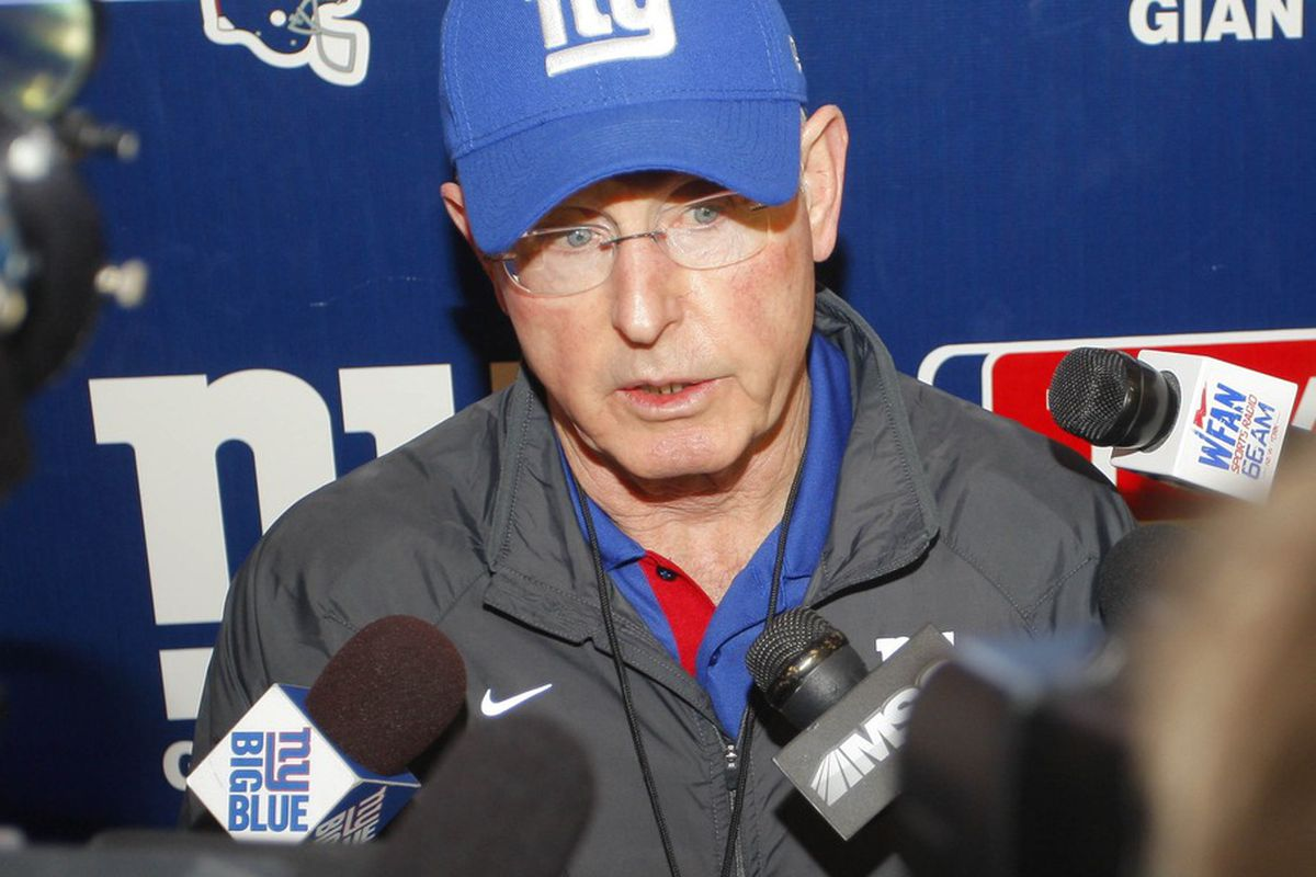 Jun 14, 2012; East Rutherford, NJ, USA;   New York Giants head coach Tom Coughlin and his team begin training camp Friday. Jim O'Connor-US PRESSWIRE