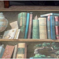 """<b>Sherlock Holmes:</b> Try on your selection in a comfortable collegial hideaway, with a large inviting leather armchair and trompe l'eoil bookshelves. Pipe and deerstalker not included. [<a href=""""http://cgi.ebay.com/Vintage-Wallpaper-Shelf-Looks-Like-Li"""