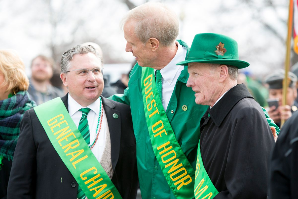 Gov. Bruce Rauner (center) pictured with Illinois House Speaker Michael Madigan (in hat) at the 2016 Chicago St. Patrick's Day parade.
