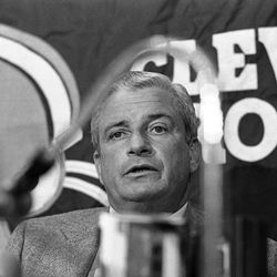 FILE - Cleveland Browns owner Art Modell answers questions during a news conference on the NFL players strike in Cleveland in this Sept. 21, 1982 file photo. The Baltimore Ravens  said Modell died early Thursday Sept. 6, 2012 at Johns Hopkins Hospital, where he had been admitted Wednesday. A cause of death was not given.