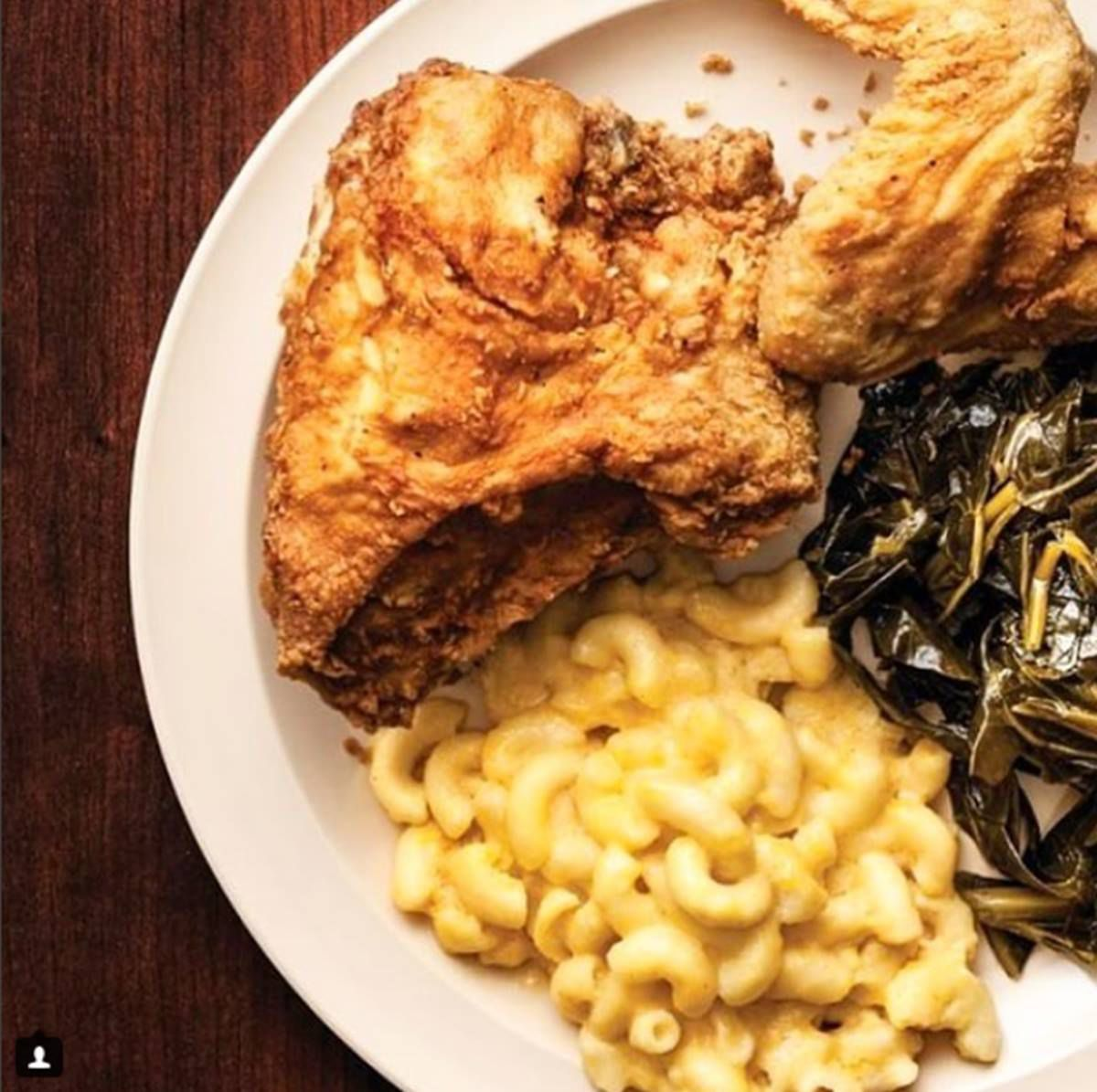 Fried chicken, collards, and mac and cheese  from Busy Bee Cafe in Vine City Atlanta