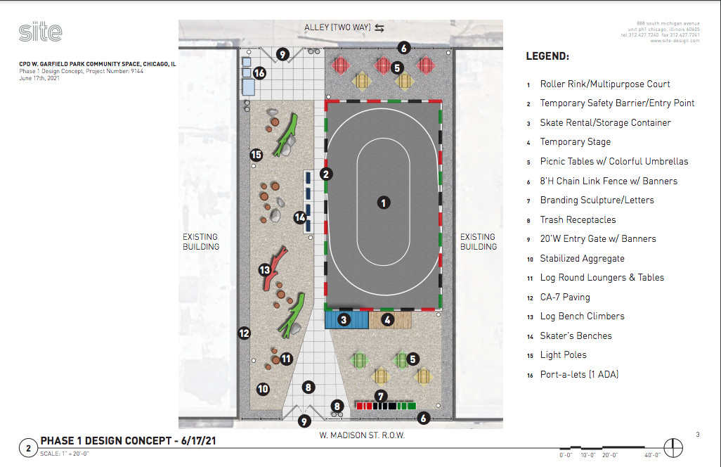 Burr Ridge's All-Bry Construction Company will build the temporary roller rink and plaza, which is planned to open on July 23.