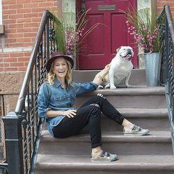 Cat Greenleaf, Talk Stoop host: On her Talk Stop stoop in Cobble Hill