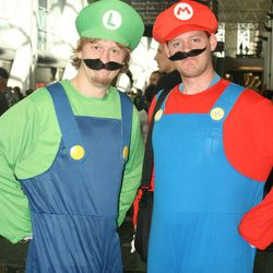 Ryan Wiggins (left) and John Christensen (right) of St. George dressed as Mario and Luigi for the inaugural Salt Lake Comic Con.