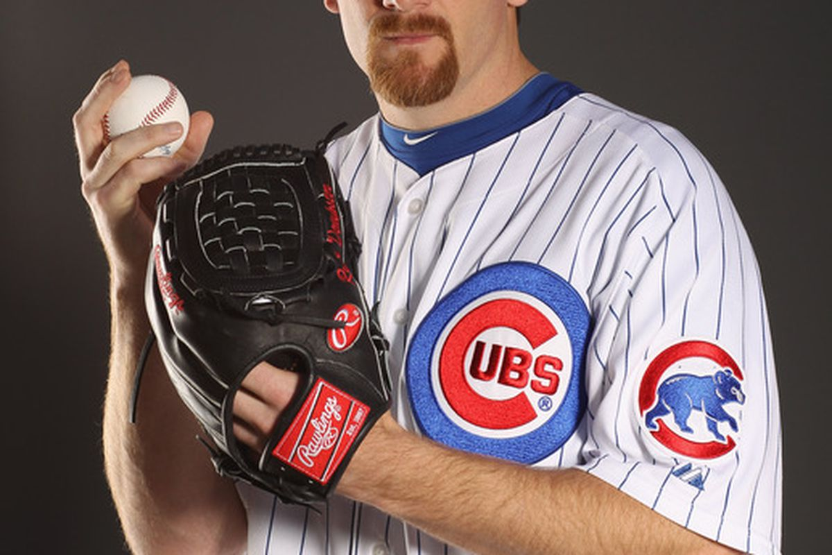 Ryan Dempster of the Chicago Cubs poses for a portrait during media photo day at Fitch Park in Mesa Arizona.  (Photo by Ezra Shaw/Getty Images)