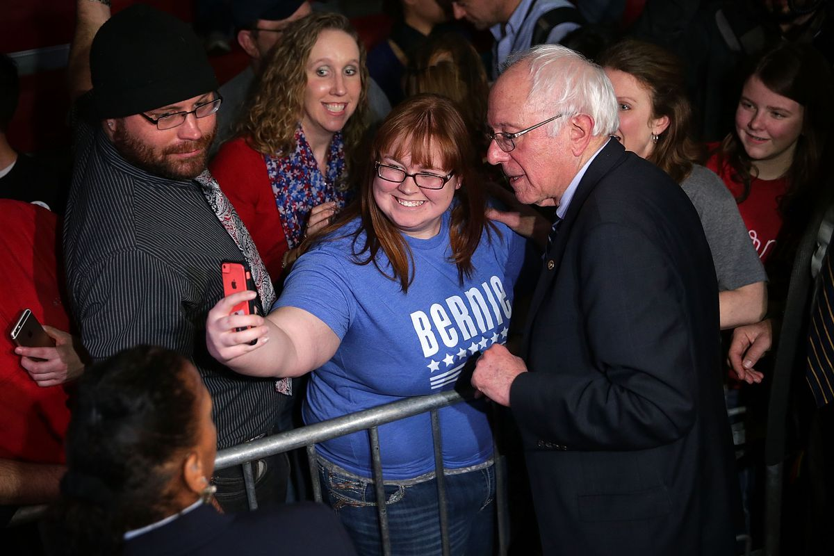 Democratic presidential candidate Sen. Bernie Sanders (I-VT) greets voters during a campaign event at Grand View University January 31, 2016, in Des Moines, Iowa.