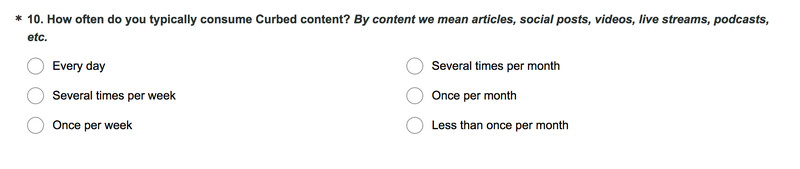 Sample of a survey question for Curbed.com