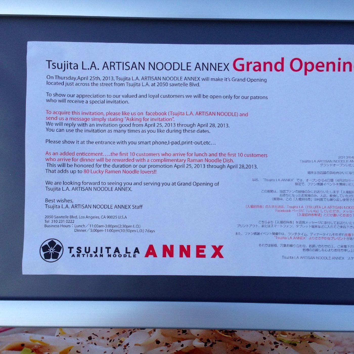 Tsujita L A  Artisan Noodle ANNEX Opens April 25 - Eater LA