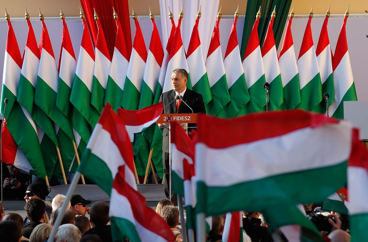 Hungarian Prime Minister Viktor Orban at a campaign rally.
