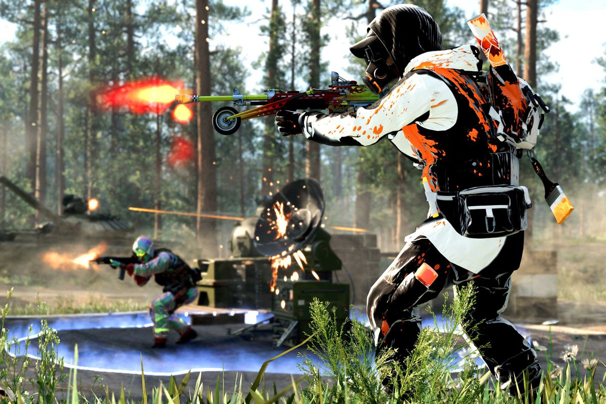 A Call of Duty: Black Ops Cold War player in a skin attacks an enemy