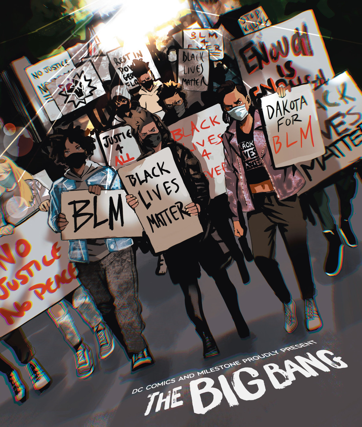 Teenagers march through the streets wearing face masks, and carrying signs that say Black Lives Matter, Dakota for BLM, Enough is Enough, Rest in Power George Floyd, and Not Justice No Peace in Milestone Returns #0, DC Comics (2021).