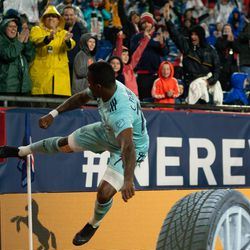 FOXBOROUGH, MA - APRIL 20: New England Revolution forward Cristian Penilla #70 celebrates his second half goal against the New York Red Bulls at Gillette Stadium on April 20, 2019 in Foxborough, Massachusetts. (Photo by J. Alexander Dolan - The Bent Musket)