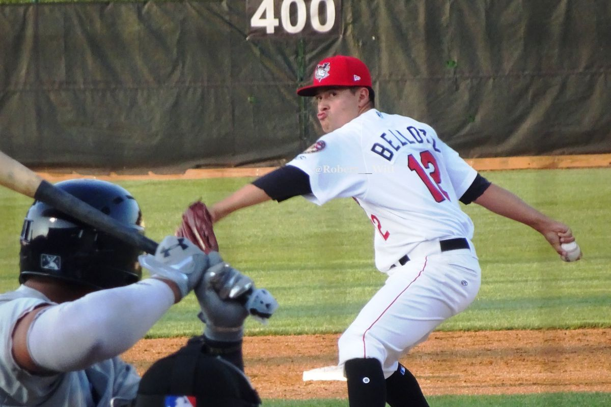Valente Bellozo pitching for the Tri-City ValleyCats