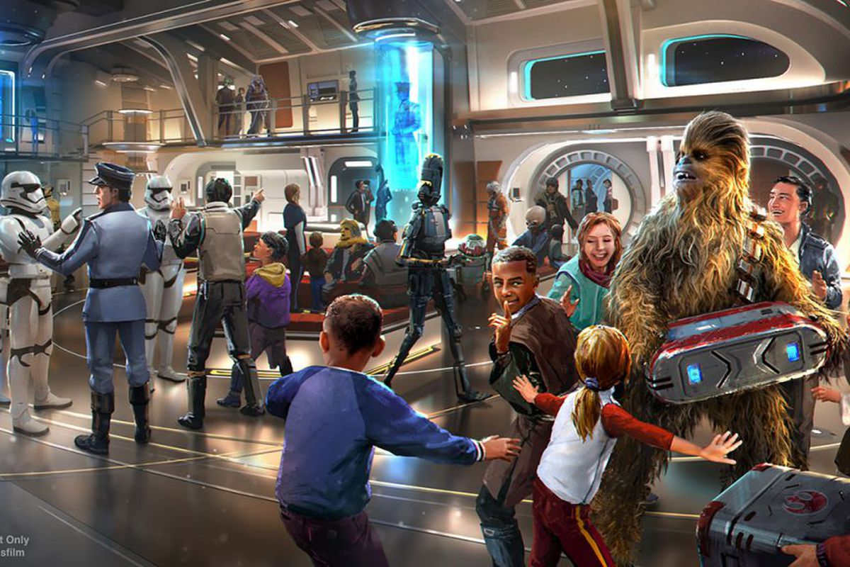 star wars hotel in orlando concept art featuring guests and a wookiee