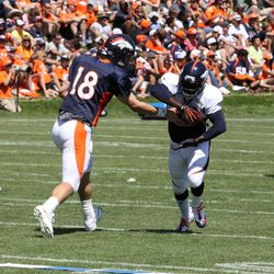 Broncos RB Ronnie Hillman takes a hand off during training camp's sixth day