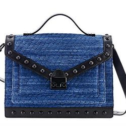 """This multi-purpose bag can be carried by hand, slung over one shoulder or attached by straps to the front of a bicycle. Loeffler Randall <a href=""""http://www.loefflerrandall.com/LRProduct.aspx?ProductID=804&CategoryID=199"""">Rider bag</a> in denim indigo fab"""