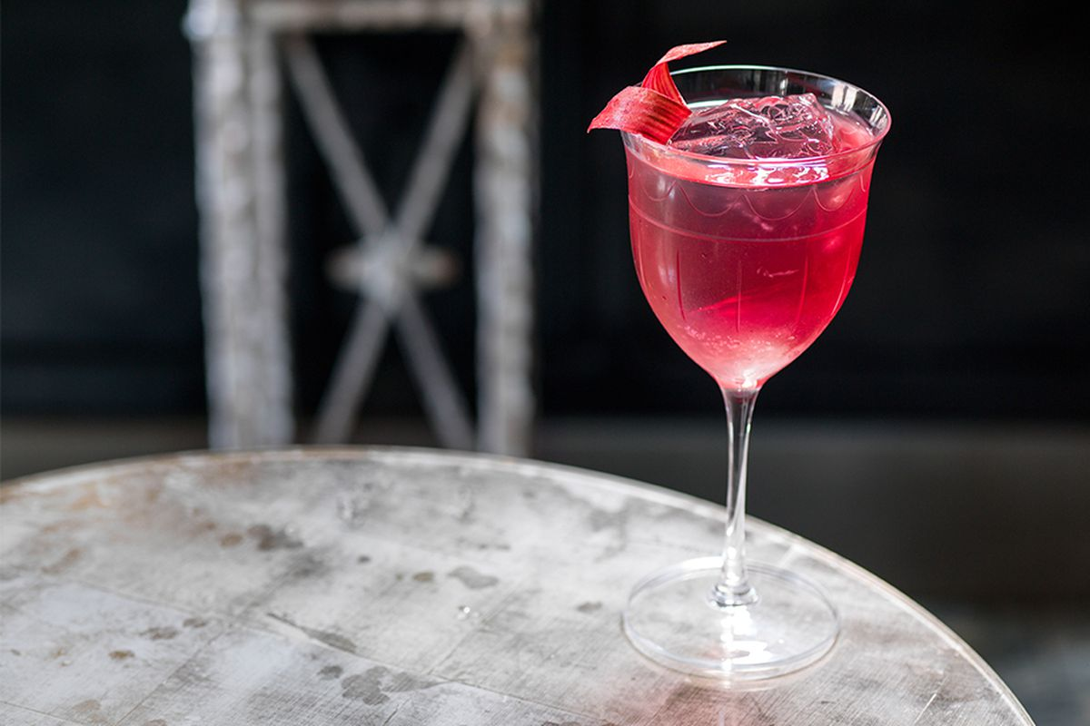 A purple cocktail at The Connaught Bar, one of the World's 50 Best Bars