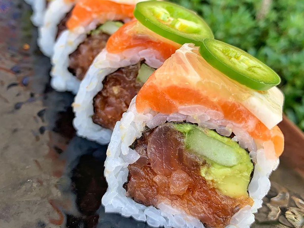 Close up of sushi roll